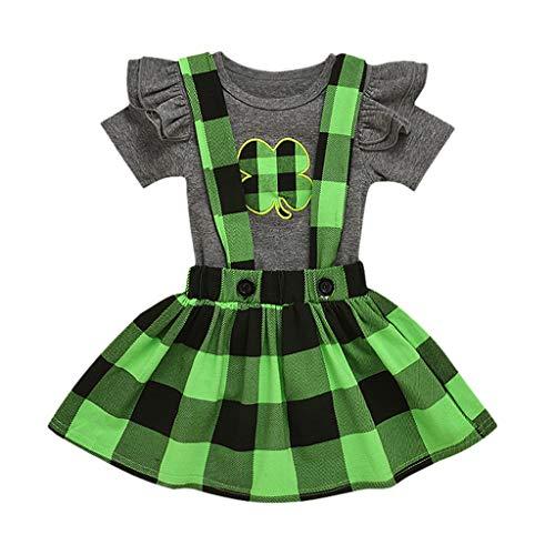 Baby Meisjes St Patrick's Day Outfit Peuter Baby Romper+Strap Rok Plaid Suspender Rok Kleding Sets Mijn 1e St Patrick's Day Lange Ruche Mouwen T-Shirt Top Bodysuit Set 1-4 Jaar oud