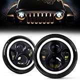 DOT Approved 7 Inch LED Halo Headlights for Wrangler JK TJ LJ 1997-2018, CREE LED Chip, 80W 9600 Lumens Hi/Lo Beam with DRL Amber Turn Signal Light and Halo Ring Angel Eyes 2PCS
