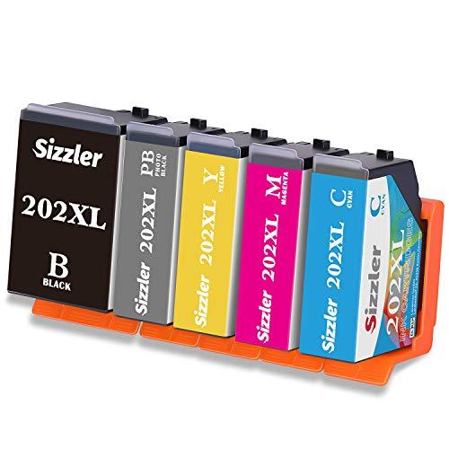 Sizzler 202XL Cartucce Compatibili Epson 202 XL per Epson Expression Premium XP-6000 XP-6005 XP-6100 XP-6105,Confezione da 5 (1 Nero,1 Nero Foto,1 Ciano,1 Magenta,1 Giallo)