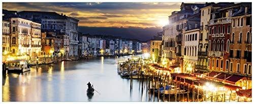 Wallario Acrylglasbild Canal Grande in Venedig am Abend mit untergehender Sonne - 50 x 125 cm in Premium-Qualität: Brillante Farben, freischwebende Optik