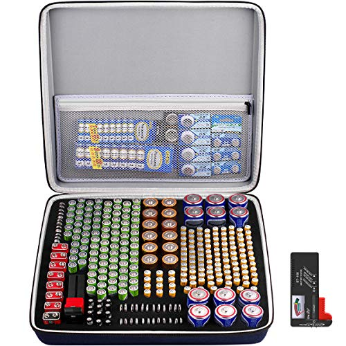 Extra Large Battery Organizer Storage Box, Garage Carrying Case Bag Holder - Holds Up to 300+ Batteries AA AAA C D 9V Lithium 3V with Battery Tester (Batteries are Not Included)
