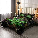 Juego de edredón de hojas de marihuana con diseño de hojas de cannabis, colorido, diseño hippie con teñido anudado, para decoración de dormitorio, color verde
