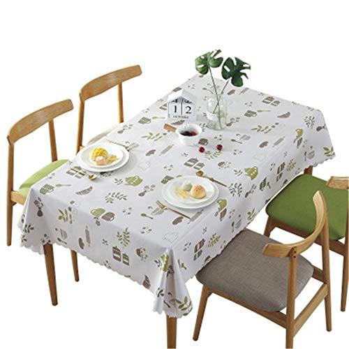 Hunterace PVC Vinilo Mantel Elk Flamingo Flor de cerezo Manzana Rectangular Cubierta de la mesa Para la cocina Limpie la cubierta de la mesa de plástico limpio (135 * 180CM) -5
