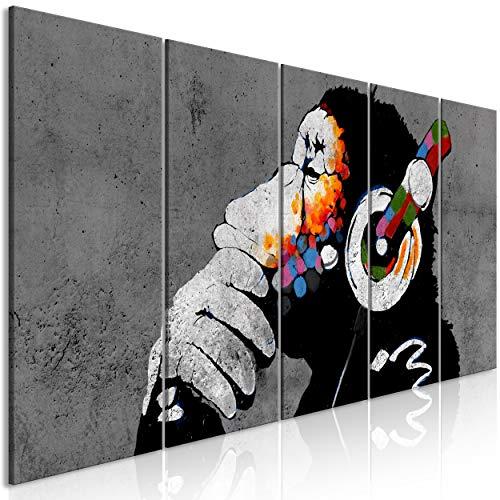 decomonkey Bilder Banksy 200x80 cm 5 Teilig Leinwandbilder Bild auf Leinwand Vlies Wandbild Kunstdruck Wanddeko Wand Wohnzimmer Wanddekoration Deko Tiere AFFE Street Art Grau Musik Graffiti