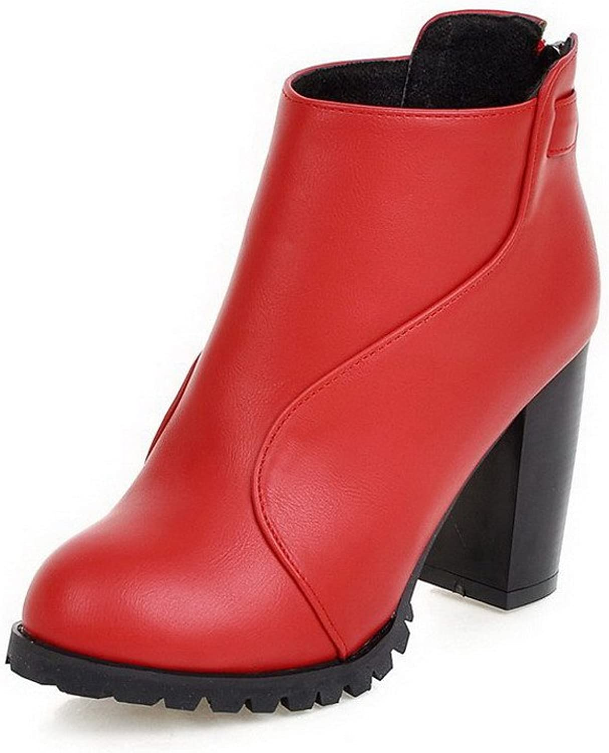 WeiPoot Women's High-Heels Solid Round Closed Toe Soft Material Zipper Boots
