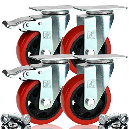 4 x Heavy Duty doppelt Kugellager gebremste Lenkrolle 100 mm Gummi Rad Trolley Caster 700 kg gratis Armatur