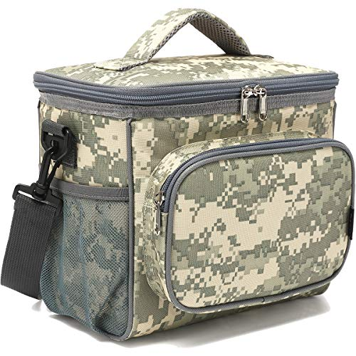 Insulated Reusable Lunch Bag Adult Large Lunch Box for Women and Men with Adjustable Shoulder Strap,Front Zipper Pocket and Dual Large Mesh Side Pockets by FlowFly,Digital Camo