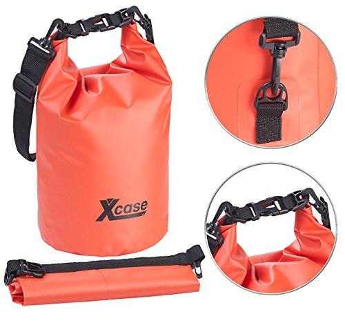 Xcase Wasserfester Sack: Wasserdichter Packsack, strapazierfähige Industrie-Plane, 5 l, rot (Motorrad Sack)