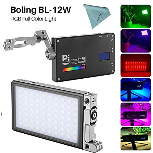 Boling BL-P1 12W RGB Build-in Battery Led On Kamera Licht Pocket Size Bi-Color 2500K-8500K 0-360°Full Color & Color Saturation Adjustment Led Foto Licht Aluminum Light Body MEHRWEG