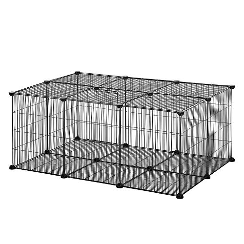 Pawhut Gabbia per Conigli e Piccoli Animali, 22 Pannelli Modulabili in Metallo con Porta, Nero, 105 x 70 x 45cm