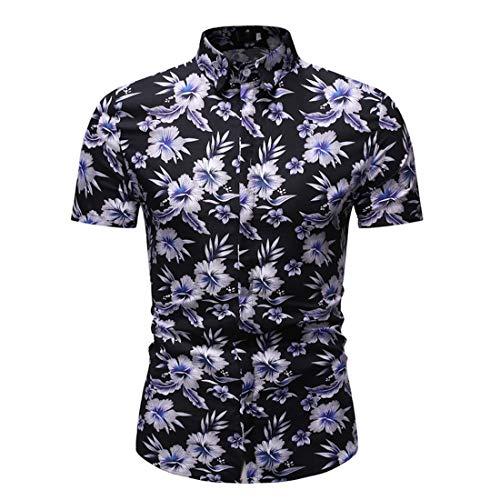 Camisa Hombres Verano Moda Impresión Hombres Shirt del Músculo Botón Tapeta Kent Collar Hombres Shirt Ocio Cómoda Negocios Hawaii Manga Corta Hombres Shirt Playa A-White 3XL