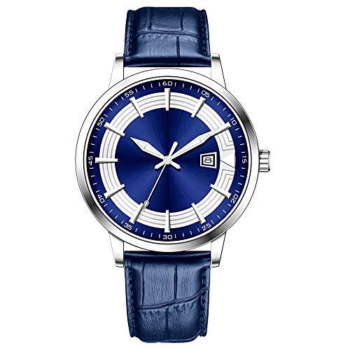 Clásico Adj Impermeable Reloj De Cuarzo Deportivo para Hombre con Diseño De Acero Inoxidable y Personalidad De con Pulsera De Malla (Blue-Leather)