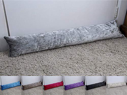 Original Sleep Company Crushed Velvet Draught/Draft Excluder in Silver - Energy Saving Door or Window Wind Guard