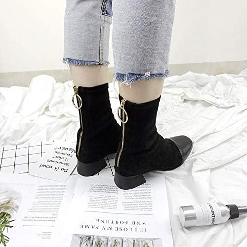 Shukun bottes Bottes épaisses Bottes zippées en Cuir Verni Femmes, Couleur Assortie à la tête carrée dans Le Dos, Bottes Stretch Martin