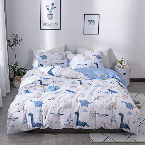 MICBRIDAL Cartoon Duvet Cover with Two Shams, Children Girls Boys 100% Cotton Bedding Set Animal Dinosaurs Pattern Twin Size Quilt Cover
