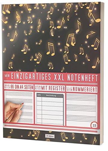 """Mein Notenheft / 86 Seiten, 44 Blätter, 12 Systeme / Mit Register und Seitenzahlen / PR301 """"Musikregen"""" / DIN A4 Soft Cover"""