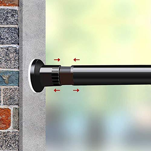 GOLDION Teleskopst Gardinenstange Spannstange Duschvorhangstange,ohne Bohren ausziehbare,Raumteiler Spannung Gardinenstange, Ausziehbar, Premium Tension Windows Gardinenstangen (Schwarz, 310-410cm)