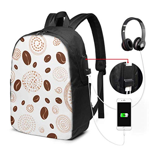 Outdoor Backpack Coffee Beans Fragrant Bookbag for Girls with USB Charging Port and Headphone Port for College Work Travel