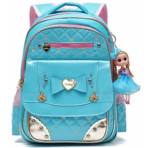 Zaino serie adorabile principessa bambola scuola zaino per ragazza scuola elementare (L, Blu)