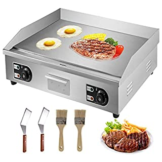 """VBENLEM 30"""" Electric Countertop Flat Top Griddle 110V 4400W Non-Stick Commercial Restaurant Teppanyaki Grill Stainless Steel Adjustable Temperature Control 122°F-572°F (B07YDKLZJT)   Amazon price tracker / tracking, Amazon price history charts, Amazon price watches, Amazon price drop alerts"""