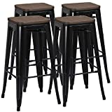 Yaheetech Lot de 4 Tabouret Bar Industriel Design Chaise Haute de Bar 76,5 cm Metal...