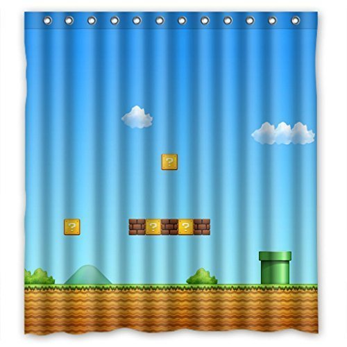 Presock Duschvorhänge, Super Mario Game Funny Waterproof Shower Curtain Eco-Friendly Fabric Bathroom Set with Hooks