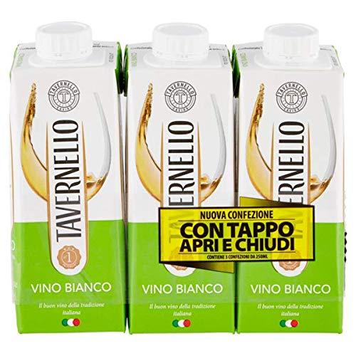 Tavernello Vino Bianco d'Italia - Secco e Fragrante Profumi Fruttati - Ideale con Antipasti, Carni Bianche e Pesce - Contenitore Richiudibile Tetra Brik Aseptic 10,5% vol - 3 x 250 ml (White)