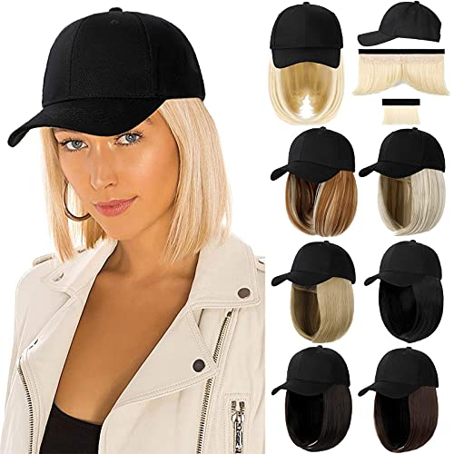 Qlenkay Baseball Cap with Hair Extensions Straight Short Bob Hairstyle Adjustable Removable Wig Hat 14inch for Woman Girl Ginger Brown Mix Bleach Blonde