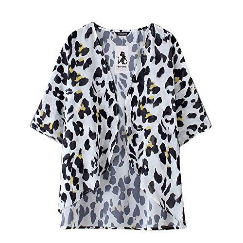 Womens Leopard Chiffon Blouse Beach Kimono Cardigan Blouse Shawl Loose Tops Outwear Fashion blouses women-Black_XL_0