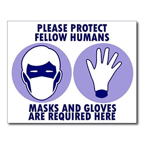 Covid 19 Must wear Mask and Gloves Poster Sign Laminated Young N Refined (15x20)