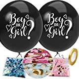 Gender Reveal Balloon with Confetti, 36 Inch Black Boy or Girl Gender Reveal Balloon Kit with Pink and Blue Round Confetti for Baby Shower, Gender Reveal Decorations