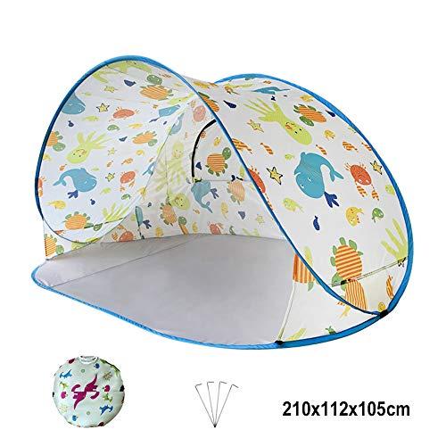 Tents d'abri de Soleil de Plage de Camping UPF 50+ Easy Pop Up Anti-UV Pliable Parasol Pare-Soleil Portable Utilisation de Pique-Nique sur la Plage intérieure et extérieure (210X112X105cm)