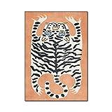 Alfombra de dibujos animados, series de animales alfombra de la alfombra de la alfombra del niño Mat lindo tigre 3d Impresión de alfombras para niños Dormitorio Juego Alfombra Colinas de piso de la ca
