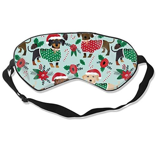Premium Super Zacht Ademend Oogmasker met Verstelbare Band - Kerstmis Nieuwjaar Kerstman - Licht Blokkeren Slaap Masker voor Reizen, Nap, Yoga, Meditatie Eén maat Kerstmis Truien Leuke Dachshunds