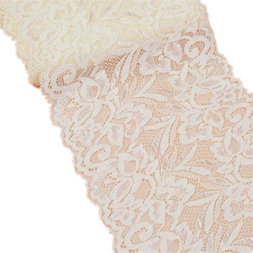 Cinta de encaje floral elástica de tul de 15 cm de ancho para manualidades, manualidades, ropa, accesorios, regalo, boda, fiesta, decoración beige