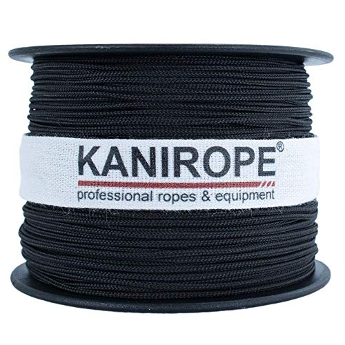 Kanirope® Polyesterseil Seil Polyester POLYBRAID 2mm 100m Schwarz 8-fach geflochten