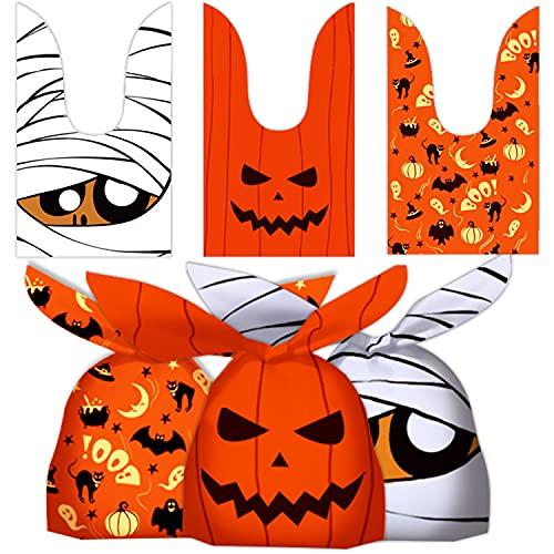 Leesgel Halloween Treat Bags, 100pcs Halloween Bags for Trick or Treat, Halloween Sweets Gift Bags for Halloween Candy Decorations Party Favours Supplies