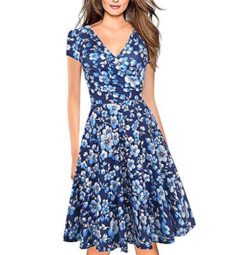 Kleid Elegant Damen Sommer, Vintage Blumen Kleid Blau, Sexy Kleid V-Ausschnitt, Knielang und Ausgestelltem Rock Unterteil(M)