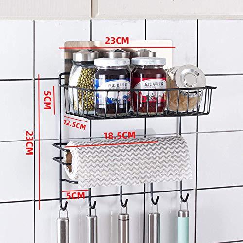 zyl Estante para Colgar para Nevera Estante de Especias Estante de Cocina Refrigerador Colgador de Toalla Lateral Soporte de Papel en Rollo de Papel Estante para Colgar en Nevera Negro