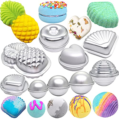Metal Bath Bomb Mold 18 PCS of 9 Sets ( 6 Hemispheres , 2 Pineapple , 2 Lollipop , 2 Donot , 2 3D Heart , 2 Clams , 2 Scallop for Bath Bombs Handmade Soaps & Cake (Sweet Summer Bath Bomb Mold Kit)