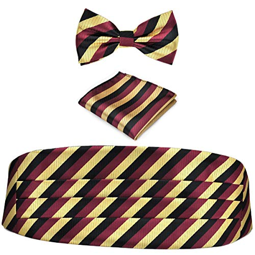 KOOELLE KOOELLE Herren Kummerbund Black Burgundy & Gold Stripes Standard