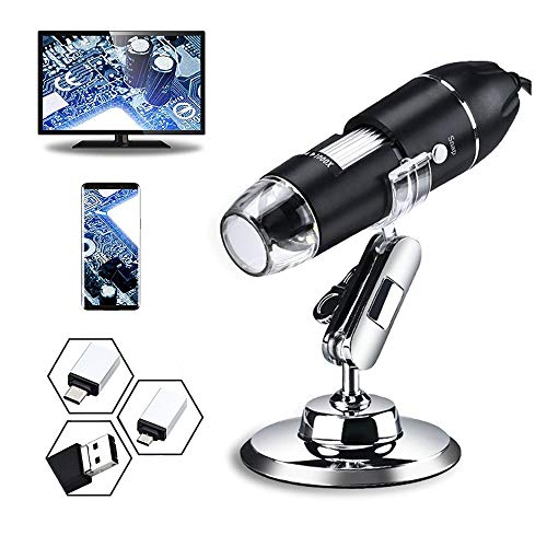 USB Digital Microscope, 50x to 1600x Magnification Microscope, 8 LED Handheld Magnification endoscopic Cameras, Metal Bracket, Compatible with Mac, Android,Window 7 8 10