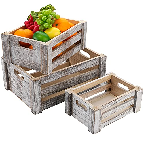 ZOOFOX Set of 3 Wooden Storage Crates, Nesting Storage Container with Handles, Decorative Farmhouse Wood Basket for Home, Rustic Bathroom Decor