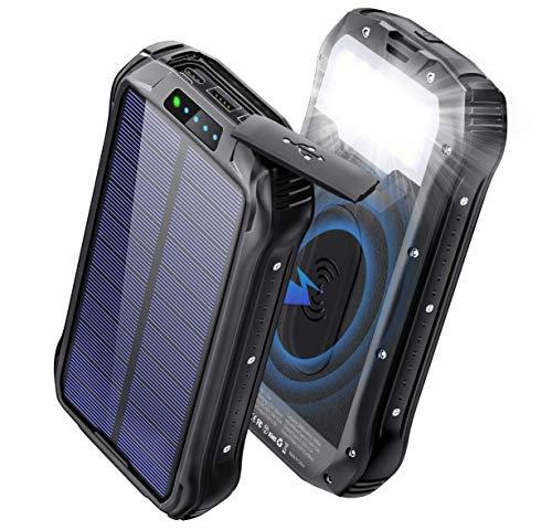 Batterie Externe Solaire 26800mAh Chargeur Solaire Portable QI sans Fil Power Bank Solaire 3 Voies Entrée + 4 Sorties Max 3.1A Batterie Secours intégrée 18LED pour Samsung Huawei Outdoor Camping