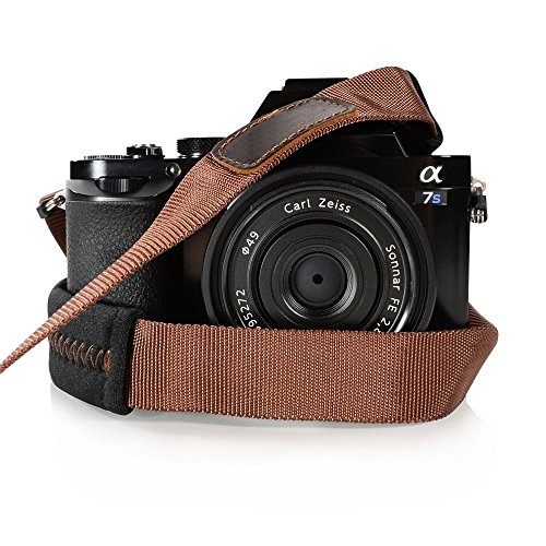 Foto&Tech Padded Neck Shoulder Strap with Brown Grosgrain Ties for Fujifilm Samsung Sony Olympus Panasonic Canon Nikon Pentax Compact Cameras Point and Shoots Cameras [並行輸入品]