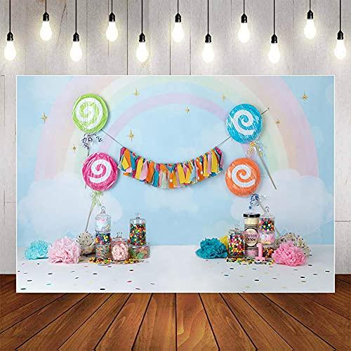 Fondos fotográficos Fondo para fotografía de piruleta Princesa de Dibujos Animados Arco Iris 1er cumpleaños Fiesta niña Pastel Smash Studio photo-7x5FT