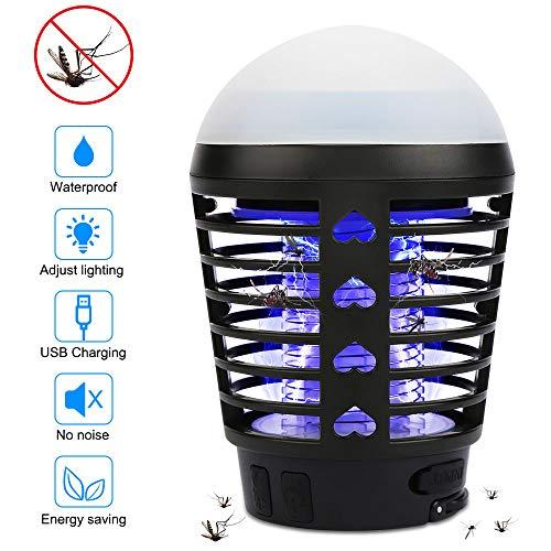 Vegena Insektenvernichter Elektrisch Outdoor, 2-In-1 Mückenlampe Campinglampe USB Wiederaufladbar Moskito Killer Licht Bug Zapper UV Insektenfalle mit Einziehbarem Haken IP67 Wasserdichter Tragbare