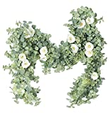 Ecohomn Artificial Flower Eucalyptus Garland with 8 Camellias, 6ft Silk Rose Vine Decorations Hanging Faux Leaves Floral Greenery for Wedding Backdrop Wall Decor Garden Home Office Party