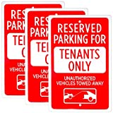 Reserved Parking - Tenants Only Sign, 3-pack, 18' x 12' | Reflective Restriction Pre-Drilled Metal Industrial Warning Sign for Private Property, Parking Lots, Home Driveways, Yards & Businesses