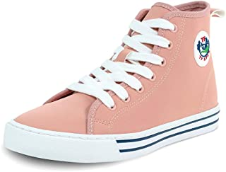 TF STAR Women's Fashion Sneakers Synthetic Leather High Top lace-up Shoes Classic Casual Flat Walking Shoes